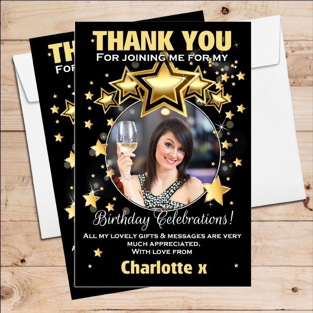 10 personalised birthday party thank you photo cards n256